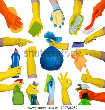 Hands in rubber gloves doing housework isolated on white background - stock photo