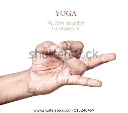 Hands in rudra mudra by Indian man isolated on white background. Free space for your text