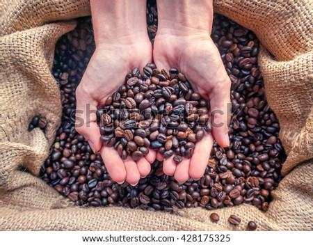 Hands in sac with roasted coffee beans - stock photo