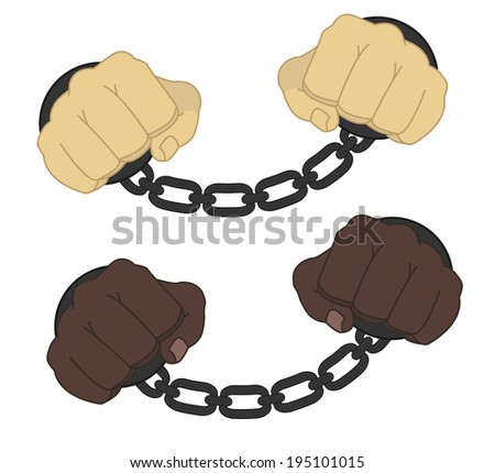 Hands in steel handcuffs  - stock photo
