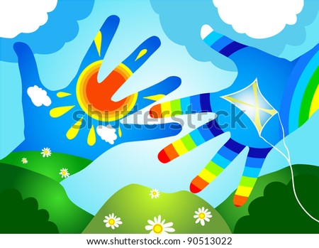 Hands in the form of a rainbow. Raster copy of vector image - stock photo