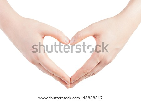 hands in the shape of heart - isolated on white background - stock photo
