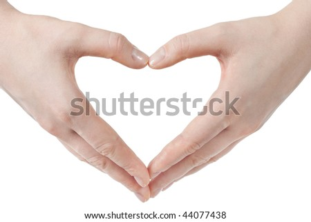 hands in the shape of heart - isolated on white background