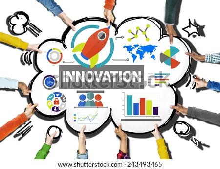 Hands Inspiration Creativity Growth Success Innovation Concept - stock photo