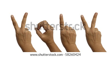 Hands isolated on white indicated the year - 2012 - stock photo
