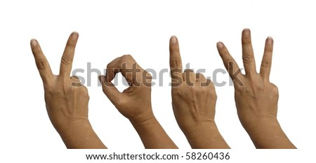 Hands isolated on white indicated the year - 2013 - stock photo