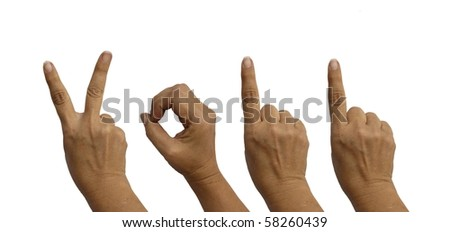 Hands isolated on white indicated the year - 2011 - stock photo