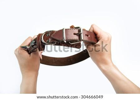 Hands keep dog-collar. control concept - stock photo