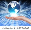 Hands, line, planet earth. The symbol of high technology. - stock photo