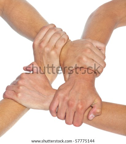 Hands linked together