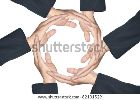 Hands made circle on white background - stock photo
