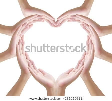 Hands make heart shape on white background - stock photo