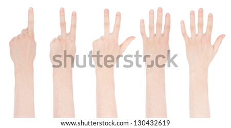 Hands make number collection. Isolated on white background
