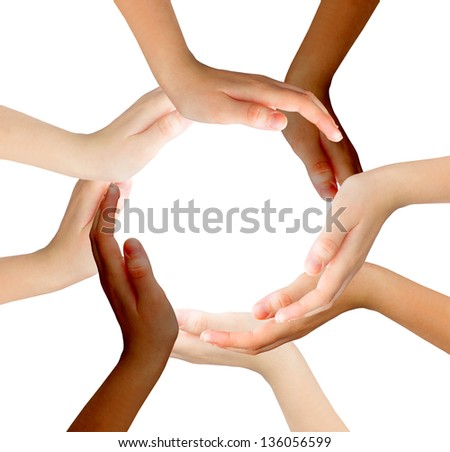 Hands make  shape - stock photo