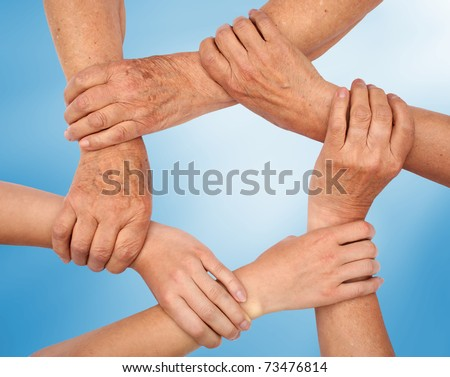 Hands making circle - stock photo