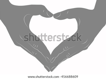 Hands making heart sign silhouette - stock photo