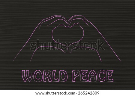 hands making heart sign, world peace, respect and love - stock photo
