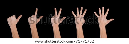 Hands making numbers from 1 to 5, black background.
