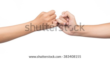 hands making promise as a friendship concept isolated on white background