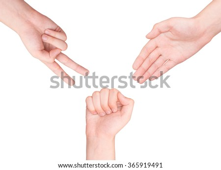 Hands making sign as rock paper and scissors on white