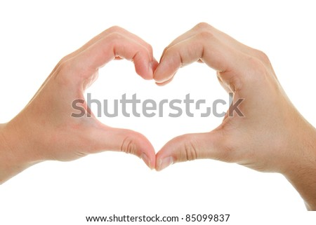 Hands, men and women with heart-shaped.