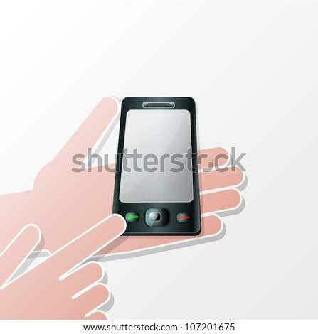 Hands Mobile smartphone with a blank screen. Isolated on white background. - stock photo