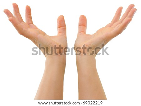Hands of a caucasian female to hold ball-sized object, isolated on white