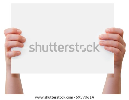 Hands of a caucasian female upholding blank sheet of paper with copy-space for your text, isolated on white - stock photo