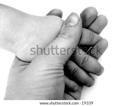 Hands of a child, black and white isolated on white background - stock photo