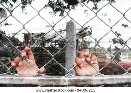 Hands (of a child) Mesh cage - Selective Color - stock photo