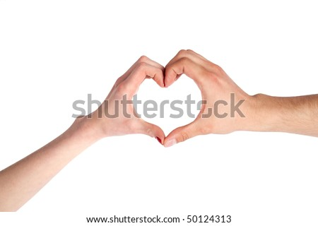 Hands of a loving couple shaping a heart, isolated on white background.