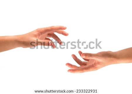 hands of a man as showing or holding something  isolated on white - stock photo