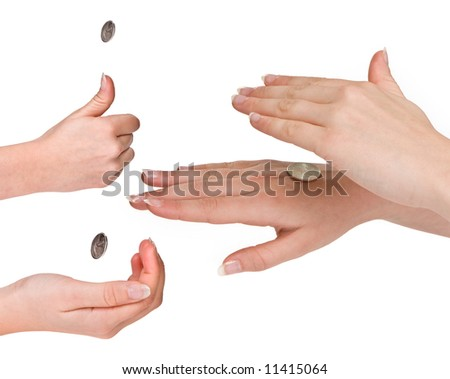 Hands of a woman in the three phases of flipping a coin - stock photo