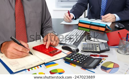 Hands of accountant business man with calculator. Accounting - stock photo