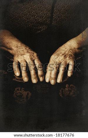 Hands of an old woman. Texture effect added. - stock photo