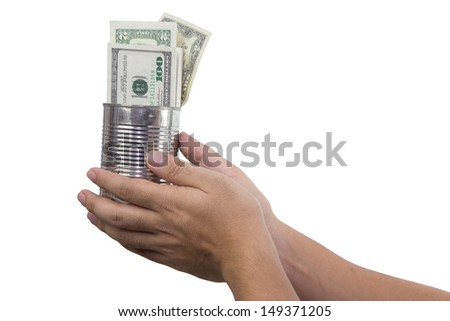 hands of beggar asking for more money holding can full of money already. Concept picture of rich folks always ask for more money - stock photo