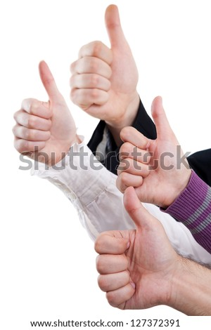 Hands of business people showing sign okay - stock photo