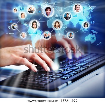 Hands of business woman with a computer keyboard. - stock photo