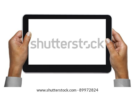 hands of businessman holding touchpad pc with path - stock photo