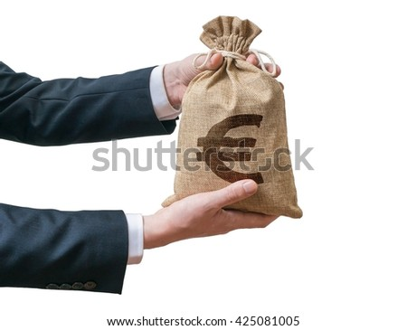 Hands of businessman holds bag full of money with Euro sign. Isolated on white background. - stock photo