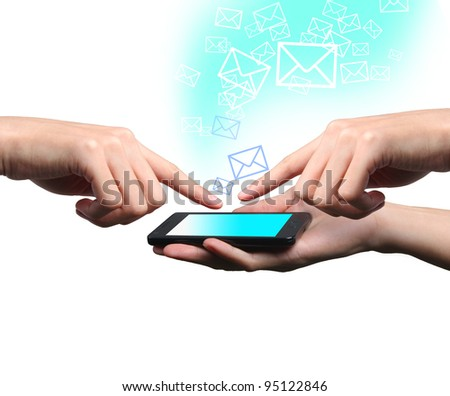 Hands of businessman touch screen mobile phone