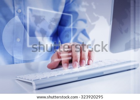 Hands of businessman working with keyboard and mouse - stock photo