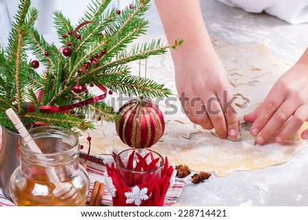 hands of chefs cooking biscuits - stock photo
