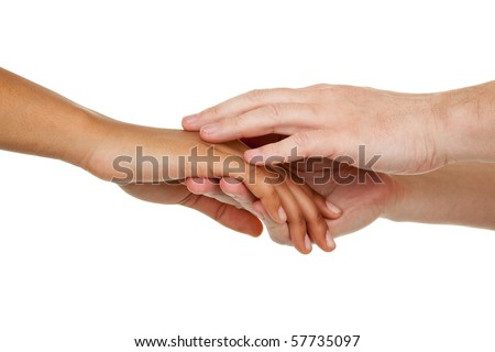 hands of different color with different gestures - stock photo