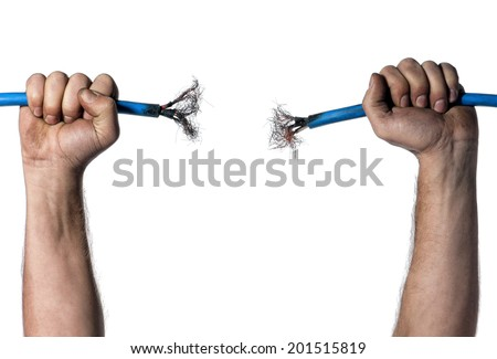 Hands of electrician with cable over white background - stock photo