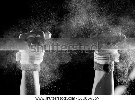hands of gymnast with chalk   - stock photo