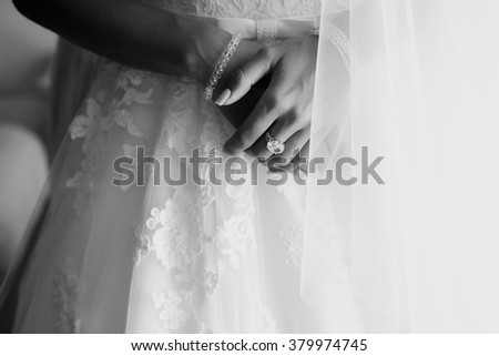 Hands of happy bride with luxury  ring on the wedding day - stock photo
