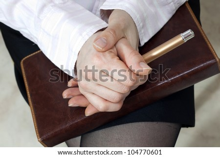 hands of listener business meeting - stock photo