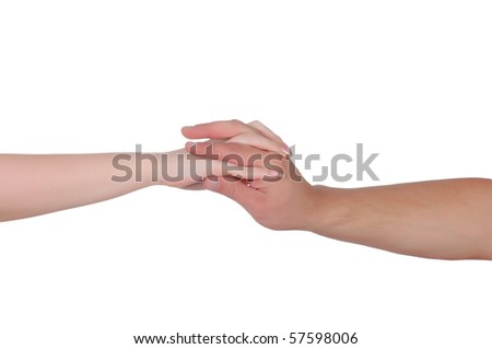 Hands of men and women relating to each other. On a white background