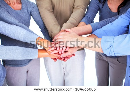 Hands of people. Business team. Union. - stock photo